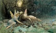 Shakespeare Metal Prints - The Fairies from William Shakespeare Scene Metal Print by Gustave Dore
