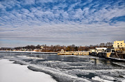 Schuylkill Prints - The Fairmount Waterworks and Boathouse Row  in Winter Print by Bill Cannon