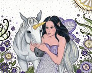 Lavender Drawings Originals - The Fairy and Her Unicorn -- in the Magical Garden by Sherry Goeben