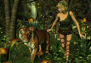 Digital Art Art - The Fairy and the Tiger by Jayne Wilson