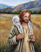 Christianity Pastels Posters - The Faithful Shepherd Poster by Susan Jenkins