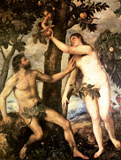 Adam And Eve Digital Art Framed Prints - The Fall of Man Framed Print by Titian