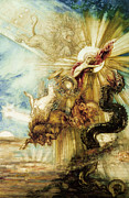 Chariot Posters - The Fall of Phaethon Poster by Gustave Moreau