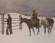 Horse And Riders Posters - The Fall Of The Cowboy Poster by Frederic Remington