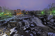 The Falls In Downtown Greenville Sc After A Light Snow Fall Print by Willie Harper