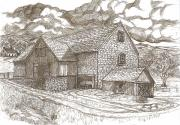 Old Barns Drawings Posters - The Family Farm - Sepia Ink Poster by Carol Wisniewski