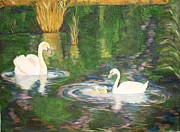 Creative Paintings - The family of Swans by Prasida Yerra