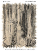 Wine Bottle Drawings - The Family Pose by Kevin Montague