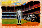 New York Yankees Mixed Media Framed Prints - The Farewell Framed Print by Alan Greene