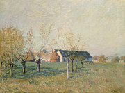 Property Painting Prints - The Farm Print by Alfred Sisley