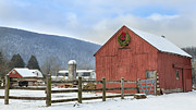 New England Snow Scene Metal Prints - The Farm Metal Print by Bill  Wakeley
