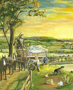 Country Dirt Roads Painting Posters - The Farm Boy and the Roads That Connect Us Poster by Mary Ellen Anderson