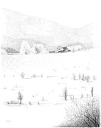 Barn Pen And Ink Drawings Prints - The Farm Print by Carl Genovese