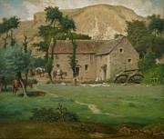 Stone Pastels Posters - The Farm House Poster by Jean Francois Millet