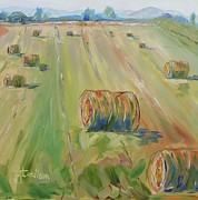 Haybales Painting Metal Prints - The Farm Metal Print by Josephine Hardison