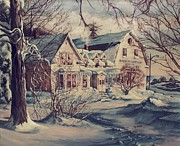New England Snow Scene Painting Posters - The Farm Poster by Joy Nichols