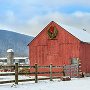 Rural Snow Scenes Posters - The Farm Square Poster by Bill  Wakeley