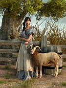 Goat Digital Art Metal Prints - The Farmers Daughter Metal Print by Daniel Eskridge
