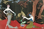 Short Hair Framed Prints - The Fashion for Lacquer Framed Print by Georges Barbier