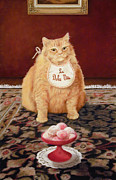 Whimsical Pastels Posters - The Fat Cal Lives the Sweet Life Poster by Barbara Groff