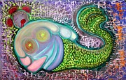 Mermaid Mixed Media - The Fat Mermaid by Laura Barbosa