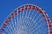 Red And White Posters - The Ferris Wheel Chicago Poster by Christine Till