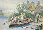 Row Boat Digital Art Prints - The Ferry Print by Myles Birket Foster