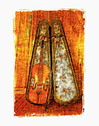 Violin Case Framed Prints - The Fiddle Framed Print by Roger Winkler