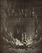 Miracle Drawings Framed Prints - The Fiery Furnace Framed Print by Antique Engravings