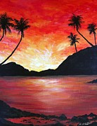 Trees At Sunset Paintings - The Fiery Lagoon by Amy Scholten