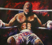 Boxer Paintings - The Fighter by J P  McLaughlin