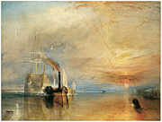 Temeraire Posters - The Fighting Temeraire tugged to her last berth Poster by J M W Turner