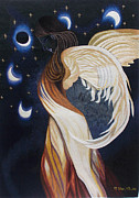 Female Tapestries - Textiles Posters - The Final Eclipse Before the Millenium hand embroidery  Poster by To-Tam Gerwe