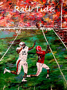 Pallet Knife Prints - The Final Yard Roll Tide  Print by Mark Moore