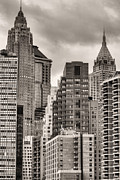Historical Buildings Prints - The Financial District BW Print by JC Findley