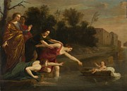 River Jordan Painting Prints - The Finding Of Moses   Print by Jacques Stella