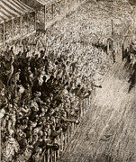 Crowd Painting Prints - The Finishing Line of the Derby Print by Gustave Dore