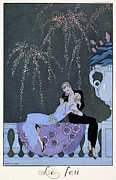 Lesbian Painting Posters - The Fire Poster by Georges Barbier
