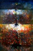 Vivid Colour Paintings - The Fire Of Forest-The Fire Of Heart by Wojtek Kowalski