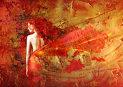 Golden Mixed Media Posters - The Fire Within Poster by Photodream Art