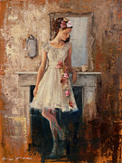 Girl In Dress Posters - The Fireplace Poster by Tanya Jansen