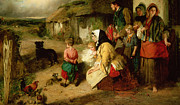 Cottage Country Paintings - The First Break in the Family by Thomas Faed
