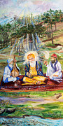 Indian Guru Framed Prints - The first Guru Framed Print by Sarabjit Singh