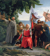 Flag Of Usa Painting Prints - The First Landing of Christopher Columbus in America Print by  Dioscoro Teofilo Puebla Tolin