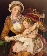 Mother And Daughter Painting Posters - The First Lesson Poster by Samuel Baruch Halle
