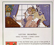 First Love Painting Prints - The First Letter Print by Georges Barbier