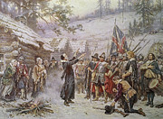 Flag Of Usa Painting Prints - The First Sermon Ashore Print by Jean Leon Gerome Ferris