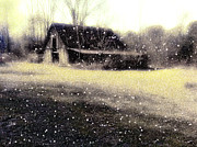 Torn Digital Art Framed Prints - The First Snow fall On The Old Barn Framed Print by Lisa  Griffin