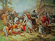 Pilgrims Framed Prints - The First Thanksgiving Framed Print by Jean Leon Gerome Ferris