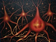 Neurons Painting Framed Prints - The First Thought Framed Print by Paula L